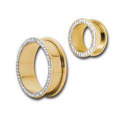 PVD Gold Steel Jeweled Fleshtunnel Gloss finish, Pluggar & Tunnlar, PVD Gold Steel hos Tribe piercing webshop