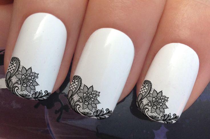 nail art set #656 x12 french manicure tips black lace flowers water transfer…