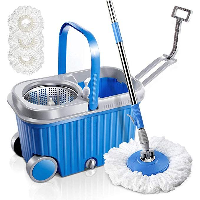 Microfiber Spin Mop And Bucket Set With 3 Pcs Microfiber Mop Heads And Wheels Floor Cleaning Tools With Stainless Steel Microfiber Mops Spin Mop Floor Cleaner