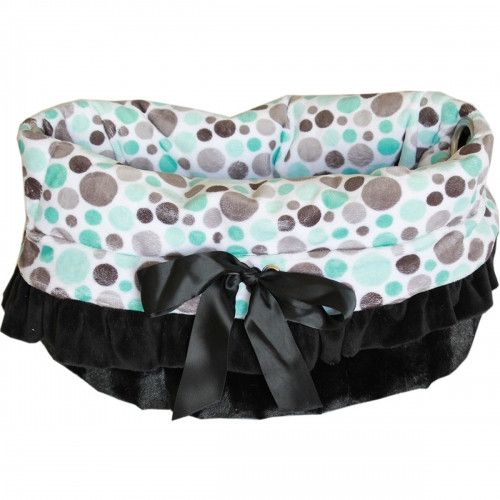 Reversible Aqua Party Dots Snuggle Bug Dog Carrier