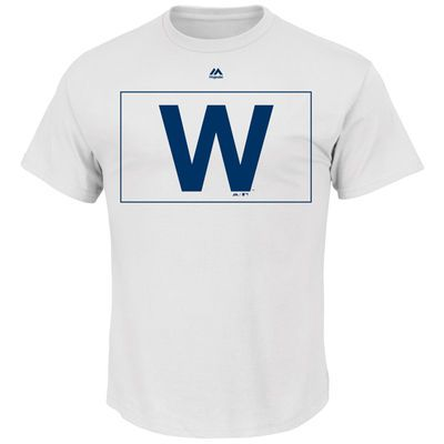 Chicago Cubs Majestic W Flag T-Shirt - White