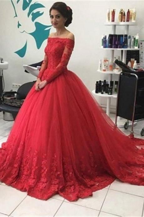 Red Long Sleeves Off-the-Shoulder Lace Natural Ball Gown Tulle Prom Dresses  2017 2814b34faf7e