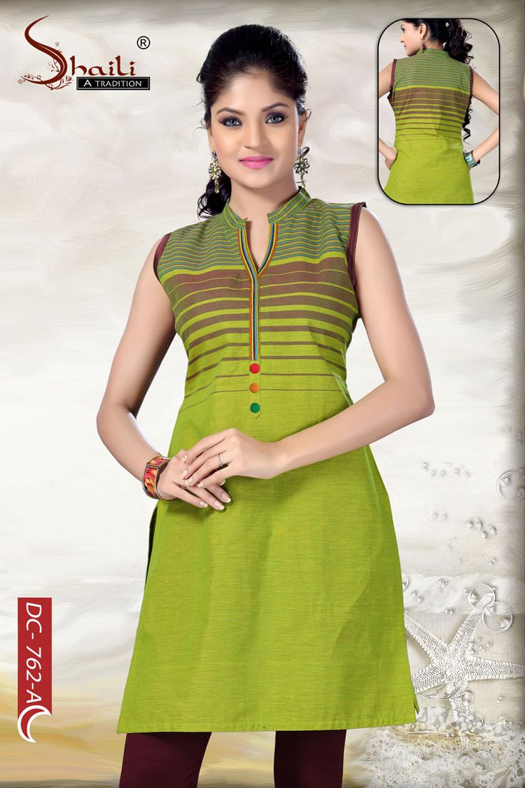 The Simple Stunning Green Sleeveless Cotton Tunic by Snehal Creation