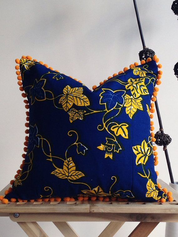 18 Pom-pom pillow Cover African Home Decor Couch by JuneThirty