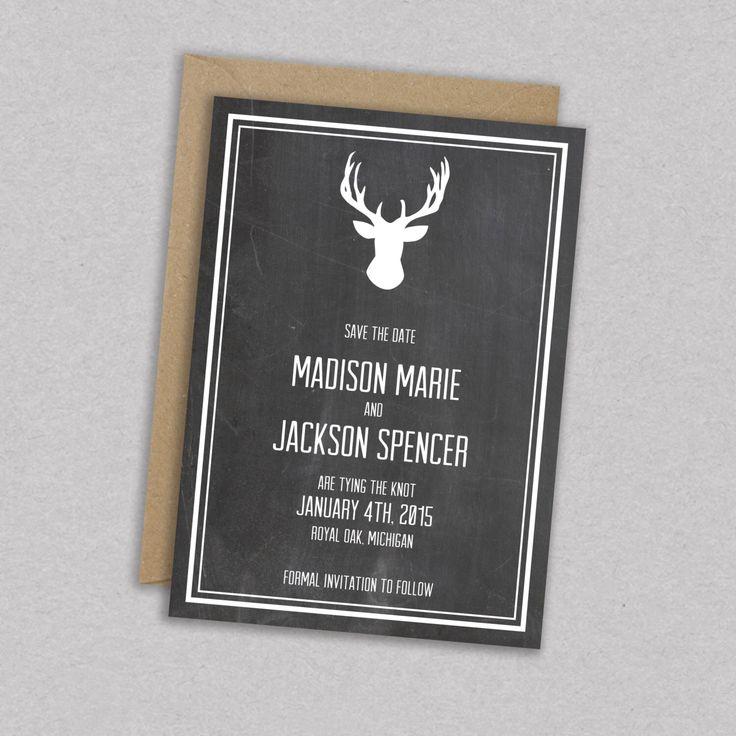 Print Sale // DIY Printable Wedding Save the Date: Antlers - Deer - Woodland - Vintage - HIpster - Rustic - The Madison von MintCloudLLC auf Etsy https://www.etsy.com/de/listing/169165389/print-sale-diy-printable-wedding-save
