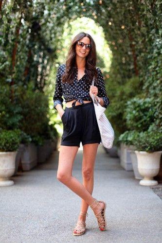 Summer Styles, Fashion, Polka Dots, Summer Outfit, High Waisted Shorts, Street Style, Summer Chic, High Waist Shorts
