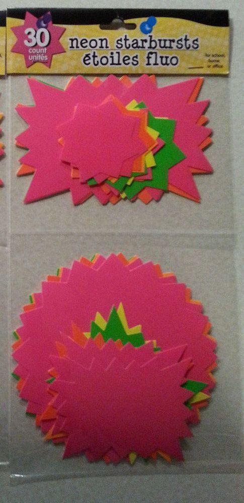 Lot of 30 Neon Starburst Bright Sign Tags Price Sale - New Garage, Rummage, Yard