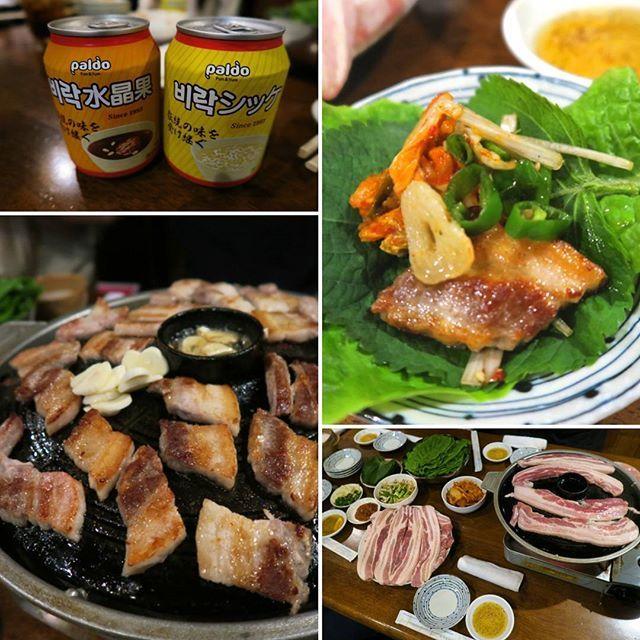 #韓国料理#サムギョプサル#肉#肉厚#6月#キムチ#シッケ#にんにく#焼肉#美味しい#エゴマ#青唐辛子#食べ放題
