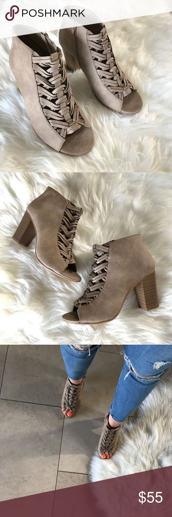 """Braided Front Chunky Heel Ankle Booties Ankle Bootie, Open Toe. Back Zipper Closure Comfortable heel. Peep Toe. Tan. Stacked Chunky Heel. Heel measures approximately 4"""" super comfortable booties. Boutique Shoes Ankle Boots & Booties"""