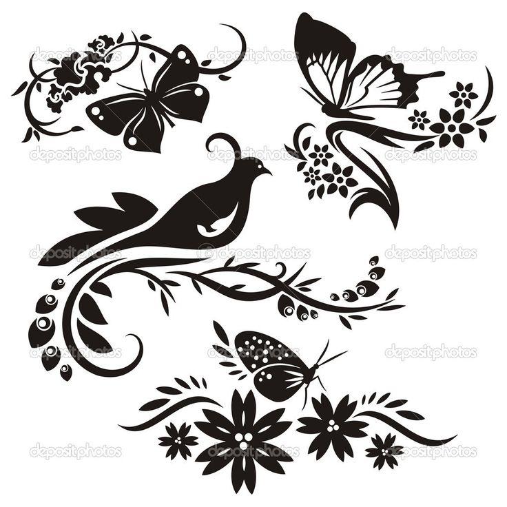 Набор 4 Китайские цветочные узоры — стоковая иллюстрация #21237695