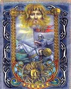 """Bel / Belenus / Belenos / Belimawr - Seu nome significa """"brilhante"""", sendo o Deus do Sol e do Fogo dos irlandeses. Belenos dá seu nome ao festival de Beltane, ou Beltain, festa de purificação e fertilidade comemorada em 1 de maio no hemisfério norte. Belenos era ainda ligado à ciência, cura, fontes térmicas, fogo, sucesso, prosperidade, colheita e à vegetação"""