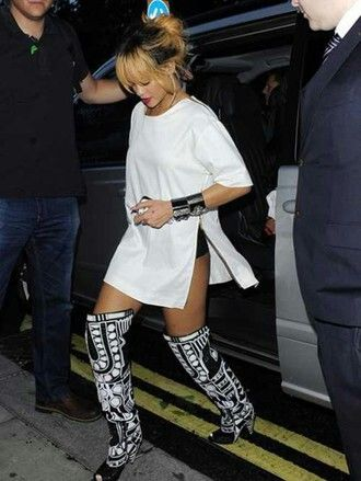 Rihanna In Black and White Thigh High Boots | THIGH & KNEE ...