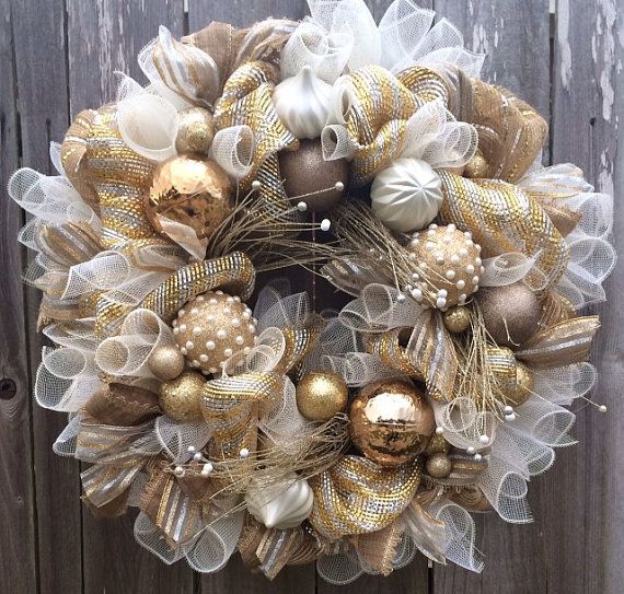 Champagne Gold, I'm Dreaming of a Gold Christmas, Christmas Wreath, Christmas Mesh Wreath, Holiday Wreath, Winter Wreath, Gold & White