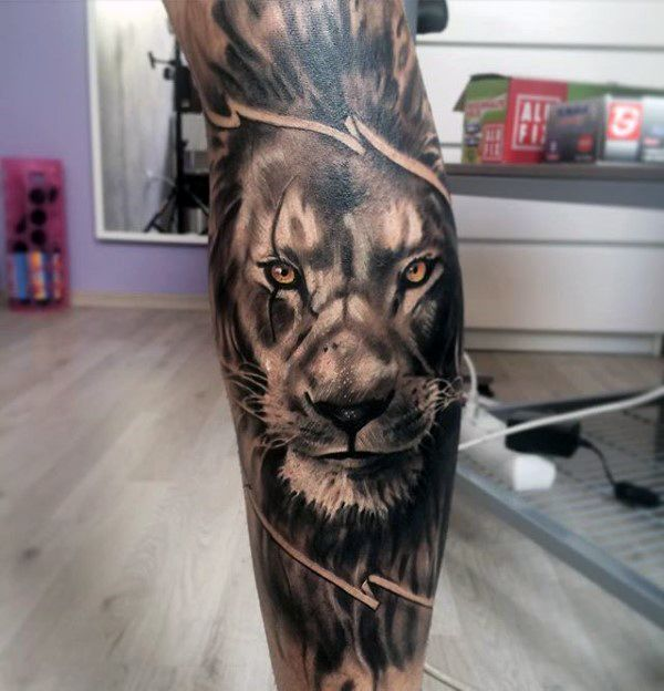 Leg Sleeve Lion Tattoo Designs For Guys
