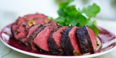 Slow-cooked Beef Fillet with Crushed Black Pepper and Balsamic