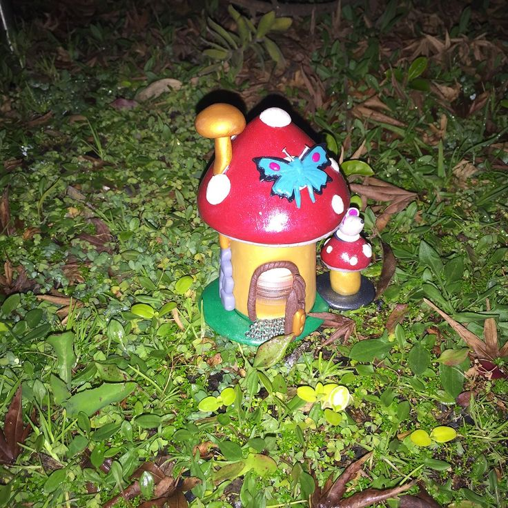Hand made from polymer clay, 3 piece Fairy Mushroom House with tealight LED candle