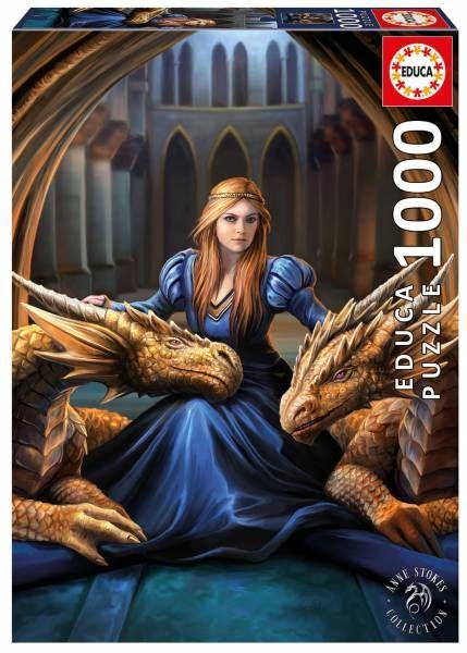 Lealtad feroz Anne Stokes - EDUCA  Puzzle de mujer gótica con dragones al estilo Juego de tronos, Games of thrones. Ilustración realizada por Anne Stokes.  Dimension 48x68 cmts  1000 Piezas Disponilbe ya en Puzzlemania.net