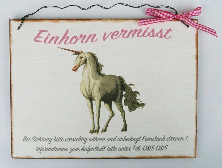Einhorn Dekoschild von Un-Art-Tick auf DaWanda.com