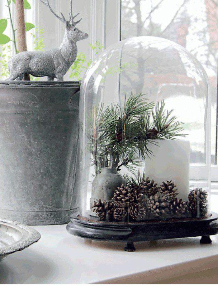 deco de noel originale pas cher avec cloche en verre et la cloche à gateau en verre