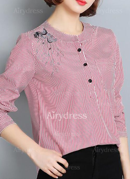 Stripe Casual Cotton Round Neckline Long Sleeve Blouses (1031507) @