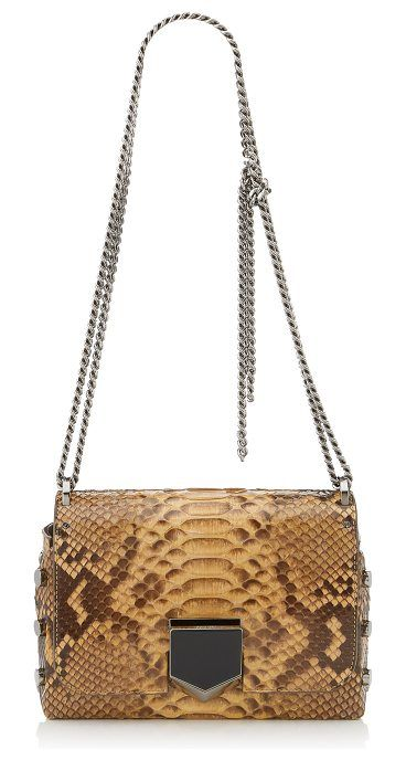 LOCKETT PETITE Golden Shiny Python Shoulder Bag by Jimmy Choo. The sexy and feminine Lockett Petite shoulder bag, in golden shiny python, is a statement piece for your new season wardrobe. This detailed bag boasts a unique push lock closure, designed to stay firmly and securely closed. The chain sho... #jimmychoo #bags