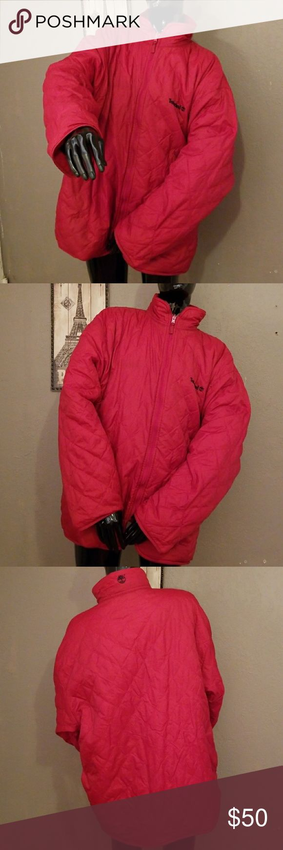 Timberland Jacket TIMBERLAND Warm jacket for men, reversible, great Timberland quality. Two side pockets. Water proof. Large, red. In like new quality. Timberland Jackets & Coats Puffers