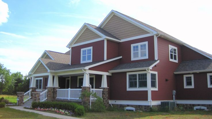 Red House With White Trim Cedar Shakes Craftsman