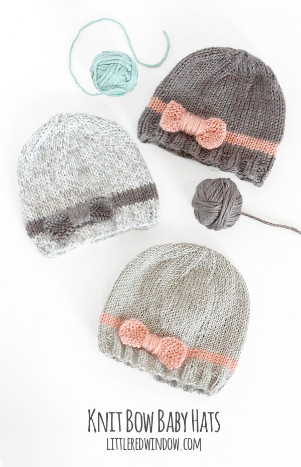 Knit Bow Baby Hats | littleredwindow.com | A quick & easy knitting pattern for your little one!