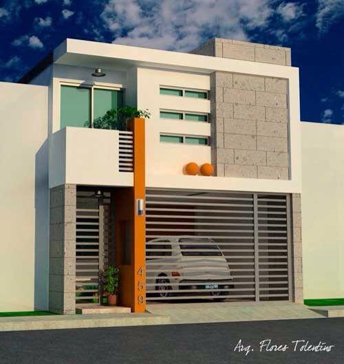 Casa moderna fachadas pinterest casas modernas for Fachada de casas modernas con porton