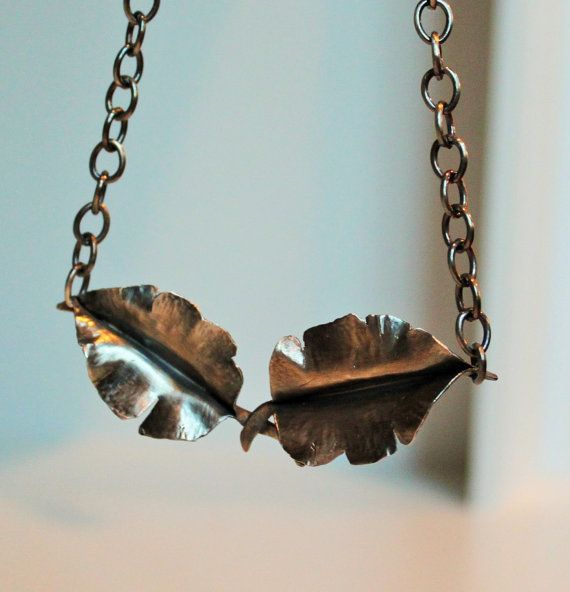 Sterling Silver Leaves on Heavy Sterling Chain by Amanda Cousins Studio, Raleigh, NC