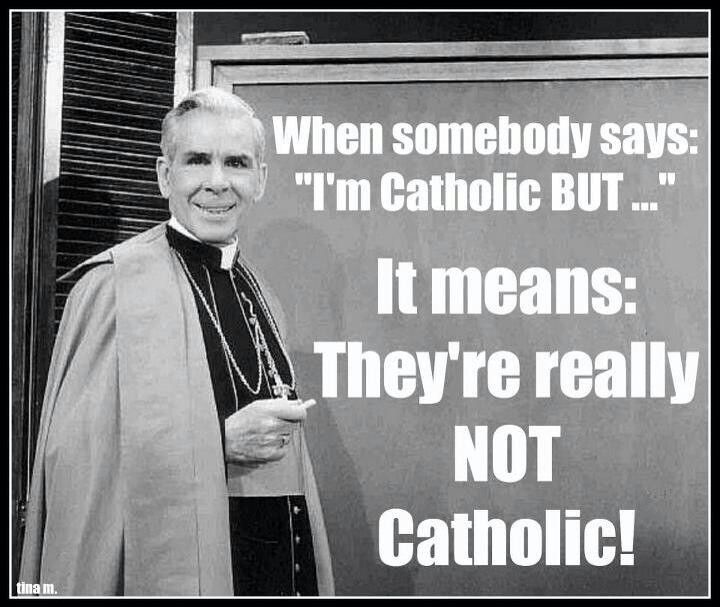 Archbishop Fulton Sheen. He's 1000% right! You either are Catholic or you are not. Make up your mind after thinking about your soul. Agree 100%!!