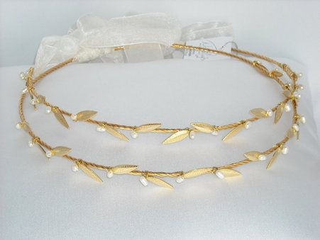 Ancient Greek Style Gold Plated Stefana with Freshwater Pearls for your wedding day.