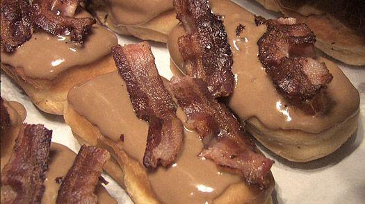a Bacon Maple Bar is shown at Voodoo Doughnut in Portland, Ore. (AP Photo/Rick Bowmer, File)