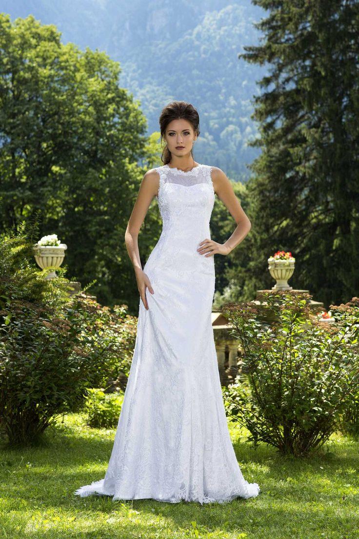 Krásne elegantné čipkovaní svadobné šaty s ramienkami