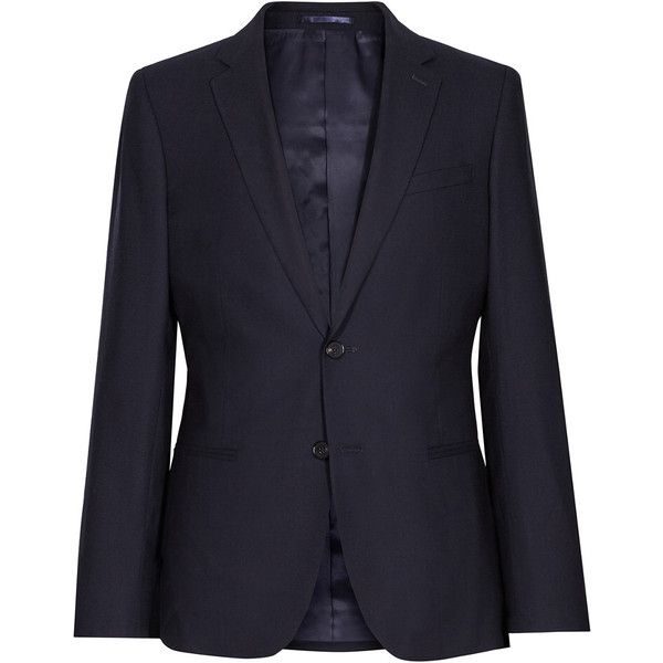 Reiss Wool Jacket (11.715 RUB) ❤ liked on Polyvore featuring men's fashion, men's clothing, men's outerwear, men's jackets, blue, mens navy blue jacket, mens wool jacket, reiss mens jackets, mens leopard print jacket and mens navy jacket