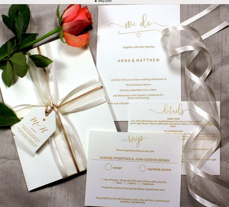 Gold printable wedding invitation template suite 3