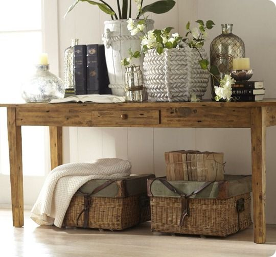 pottery-barn-keaton-console-table, how to decorate a console table - i like the baskets under the table