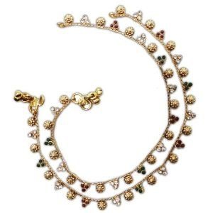 """Iba Traditional Wedding Ankle Bollywood Jewelry Gold Tone Anklet Indian Bracelet New IBA. $35.99. SALE FOR - 1 Pair Kundan Anklet; COLOR - Gold Tone;. Traditional Wedding Ankle Bollywood Jewelry Gold Tone Anklet Indian Bracelet New. SIZE-Length - 10.5"""" Inches; MATERIAL - Alloy;"""