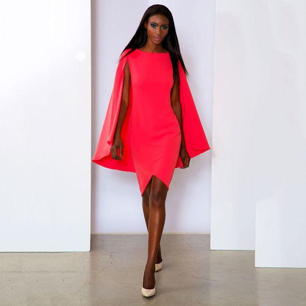 Cape Dress Neon Coral Fashion Dresses Cape Dress Fashion