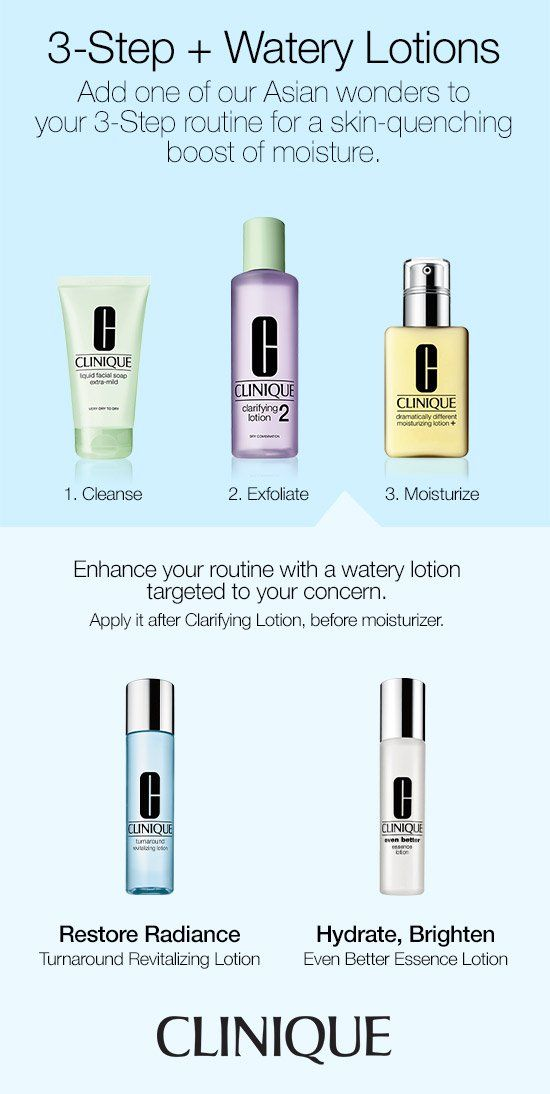 Enhance your skin care routine with a watery lotion targeted to your concern. Clinique Turnaround Revitalizing Lotion restores radiance, and Clinique Even Better Essence Lotion hydrates and brightens.