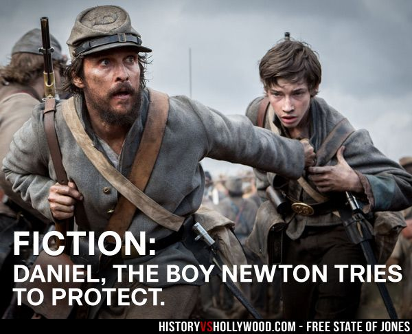 Matthew McConaughey as Newton Knight and Jacob Lofland as Daniel in the Free State of Jones Civil War movie. Read 'Free State of Jones: History vs. Hollywood' - http://www.historyvshollywood.com/reelfaces/free-state-of-jones/