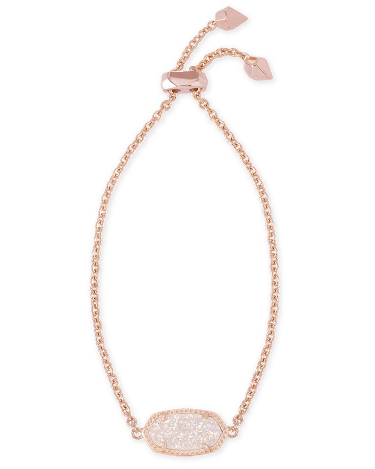 Elaina Rose Gold Adjustable Bracelet in Iridescent Drusy - Kendra Scott Jewelry.