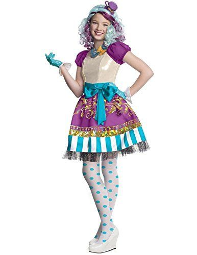 Maddeline Hatter Girls Ever After High Fancy Dress Kids Fairytale Childs Costume Includes – Gloves , dress, tights and printed necklaceIncludes – Gloves , dress, tights and printed necklace  bracelets, Earrings, Jewelry, necklaces, pendants, Rings