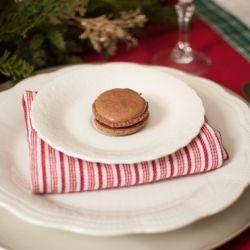 French chocolate macaron with creamy chocolate ganache filling ...
