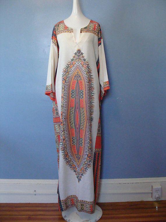 0a304ceba84 Vintage Kaftan Dress 70 s Dashiki Dress Boho Chic Hippie Festival Fashion  Bohemian Loungewear by Tiffany Maxi Dress Flowy 1970 s Caftan