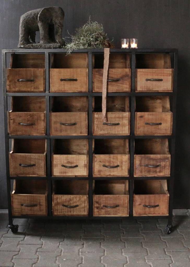 Opbergkastje Met Lades.Stalen Kastje Met Houten Lades Simply Rustic In 2019 Wood