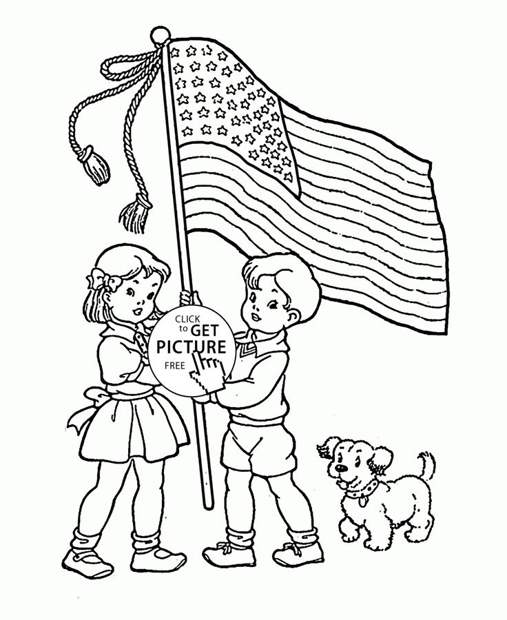 American Flag coloring page for kids, coloring pages