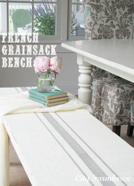 """Love this bench! Would be great on a dining table or console too"" diy French farm ticking grain sack painted stripe"