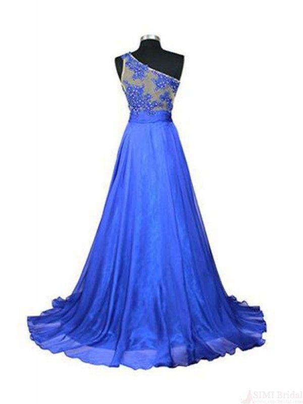One Shoulder Applique Bodice Long Prom Dresses Evening Dresses #SIMIBridal #promdresses