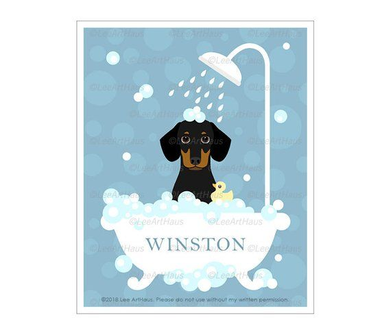 96n Dog Bath Decor Personalized Black And Tan Dachshund In Bubble Bath Wall Art Custom Dog Name Print Dac Dachshund Wall Art Dog Wall Art Dachshund Print